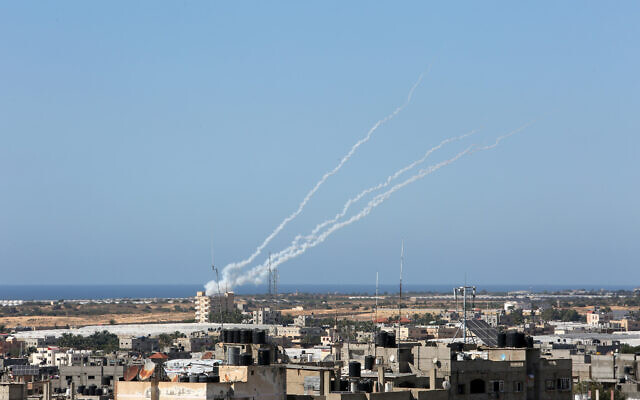 Rockets are launched by Palestinian terror groups into Israel, amid Israeli-Palestinian fighting. in Rafah, in the southern Gaza Strip, on May 19, 2021. (Abed Rahim Khatib/Flash90)