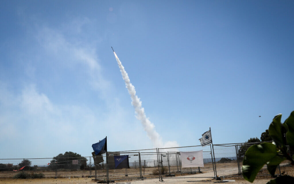 The Iron Dome anti-missile system fires interceptor missiles at rockets fired from the Gaza Strip to Israel, in the southern city of Ashkelon, May 19, 2021 (Olivier Fitoussi/Flash90)