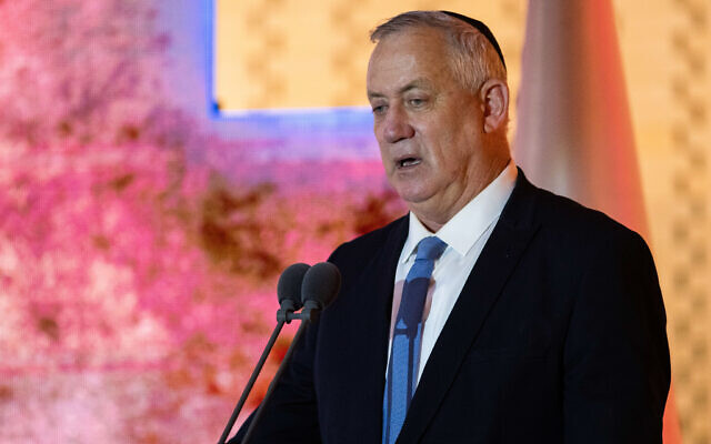 Blue and White party leader Defense Benny Gantz speaks at a ceremony in memory of Israeli soldiers who were killed in the First Lebanon War- Operation Peace for Galilee at the National Hall of Remembrance at Mount Herzl in Jerusalem on May 26, 2021. (Flash90)