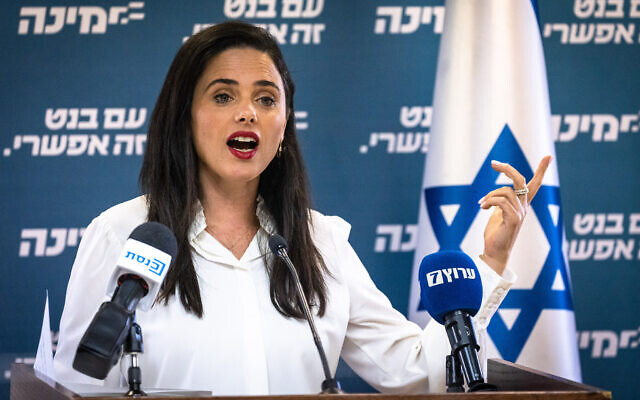 Yamina MK Ayelet Shaked gives a statement to the press at the Knesset on May 26, 2021. (Olivier Fitoussi/Flash90)