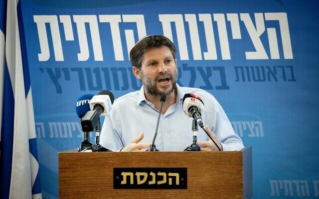 Religious Zionism leader Bezalel Smotrich speaks during a press conference at the Knesset on May 26, 2021. (Yonatan Sindel/Flash90)