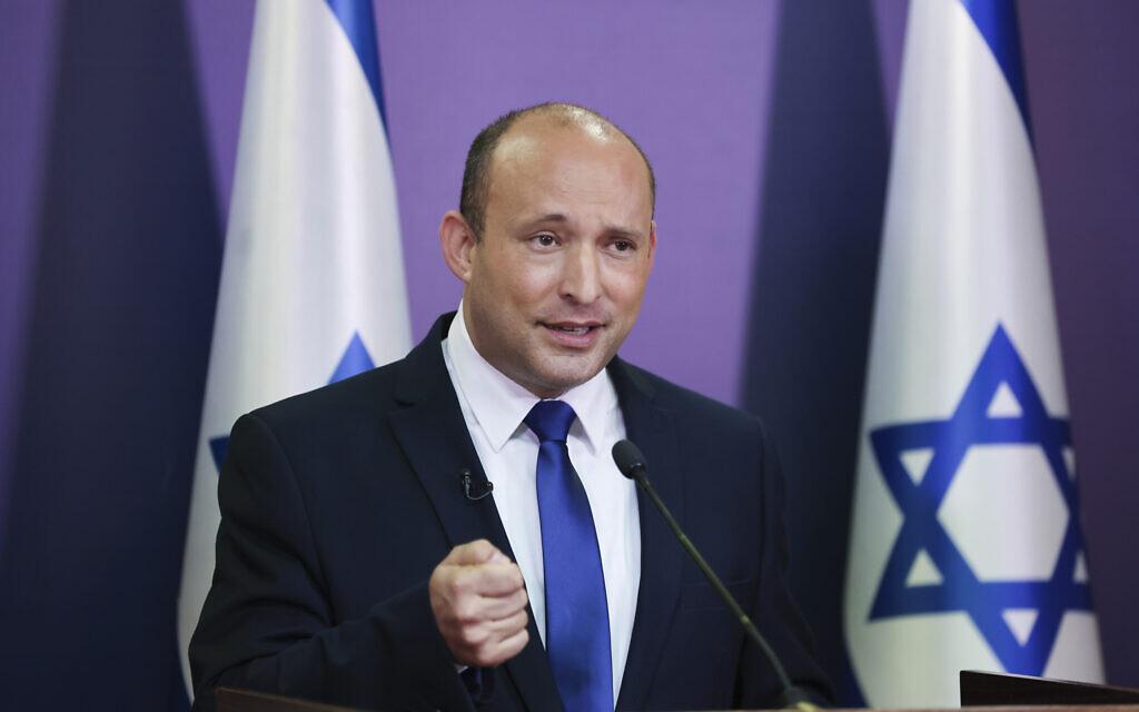 Yamina leader Naftali Bennett gives a televised speech at the Knesset in Jerusalem on May 30, 2021. (Yonatan Sindel/Flash90)