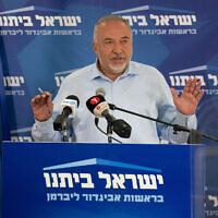 Yisrael Beytenu chairman Avigdor Liberman speaks during a Knesset faction meeting on May 31, 2021. (Yonatan Sindel/Flash90)