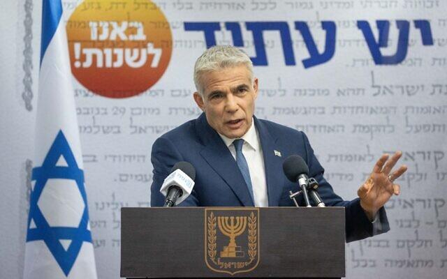 Yesh Atid leader Yair Lapid speaks during a Knesset faction meeting on May 31, 2021. (Yonatan Sindel/Flash90)