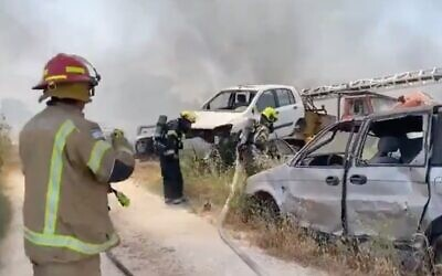 Screen capture from video of a fire at Moshav Zeitan, May 2, 2021. (Twitter)