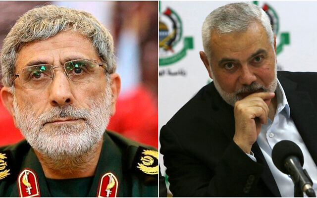 Iranian Quds Force commander Esmail Ghaani (L) and Hamas leader Ismail Haniyeh (R). (AP)