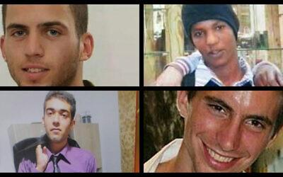 Clockwise from top left: Oron Shaul, Avera Mengistu, Hadar Goldin and Hisham al-Sayed. (Flash 90/Courtesy)