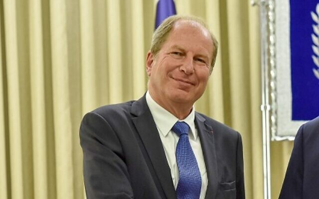 French Ambassador to Israel Eric Danon in 2019 (Courtesy Foreign Ministry)