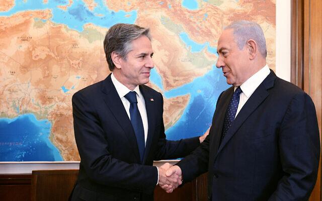 Prime Minister Benjamin Netanyahu, right, meets US Secretary of State Antony Blinken in his office in Jerusalem, May 25, 2021. (Haim Zach / GPO)