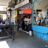 A coffee shop in Tel Aviv's Ibn Gabirol street, May 13, 2021 (Shoshanna Solomon/Times of Israel)