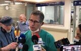 Dr. Jonathan Rieck, director of the Emergency Medicine Department speaks at the Barzilai Medical Center in Ashkelon on May 12, 2021 (Lazar Berman/Times of Israel)