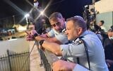 Northern District Commander Shimon Lavi (R) and Police Commissioner Kobi Shabtai (R) at Mount Meron ahead of the tragedy, April 29, 2021 (Israel Police)