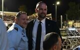 Police Commissioner Kobi Shabtai (L) and Public Security Minister Minister Amir Ohana at the bonfire lighting celebrations for Lag B'Omer, hours before the tragedy, April 30, 2021 (Israel Police)
