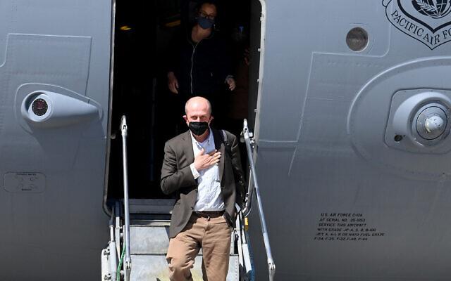 US Deputy Assistant Secretary for Israeli-Palestinian Affairs arrives at Ben Gurion Airport on May 14, 2021. (Matty Stern/US Embassy Jerusalem)