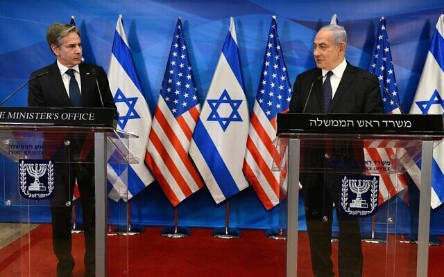 US Secretary of State Antony Blinken speaks alongside Prime Minister Benjamin Netanyahu at the Prime Minister's Office in Jerusalem on May 25, 2021 (Haim Zach / GPO)