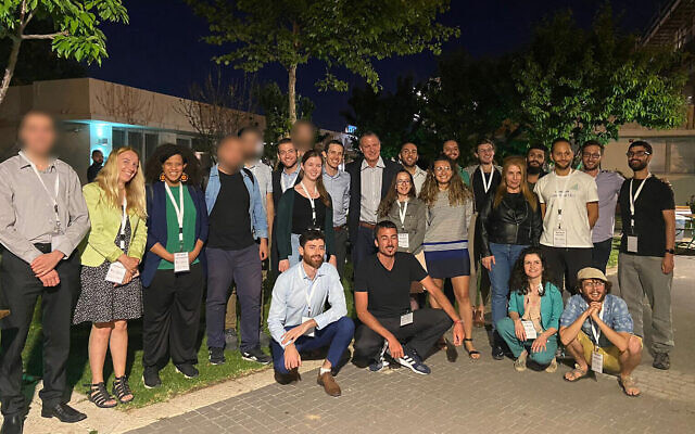 """Participants of the joint Israeli-Arab-Palestinian """"tech-pitch"""" event in Jerusalem organized by JVP. The images of some of the participants are blurred to protect their identity and security (Courtesy)"""