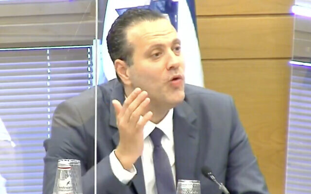 Likud MK Miki Zohar chairs a Knesset Arrangements Committee meeting on May 4, 2021. (Screen Capture: Twitter)