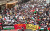 A pro-Palestinian protest in midtown Manhattan amid the ongoing escalation of violence in Gaza and Israel on May 11, 2021. (Screen capture/Twitter)