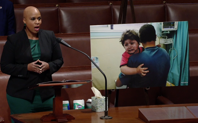 Rep. Ayana Pressley speaks from the House Floor on May 13, 2021. (Screen capture/US House of Representatives)