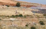 Lebanese protesters demonstrate along their border with Israel on May 14, 2021. (Screen capture/Twitter)