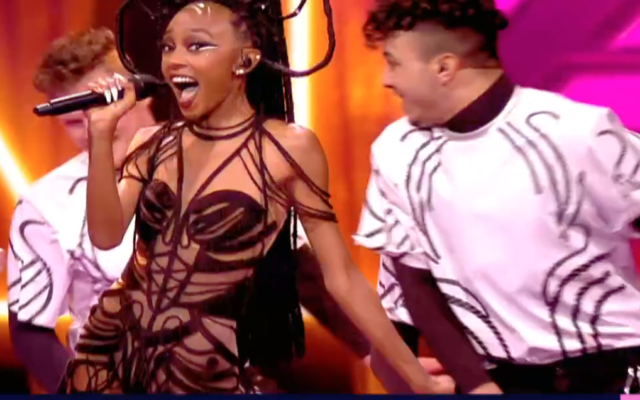 Eden Alene performing at the semifinal round of the 2021 Eurovision in Rotterdam, Netherlands (Courtesy screengrab)