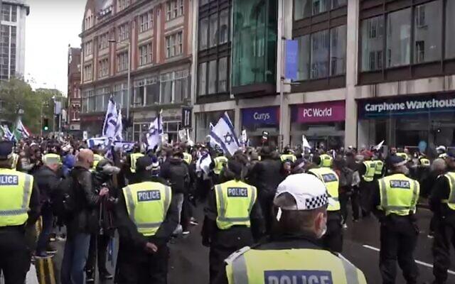 A pro-Israel demonstration in London, May 23, 2021. (Screnshot: Twitter)