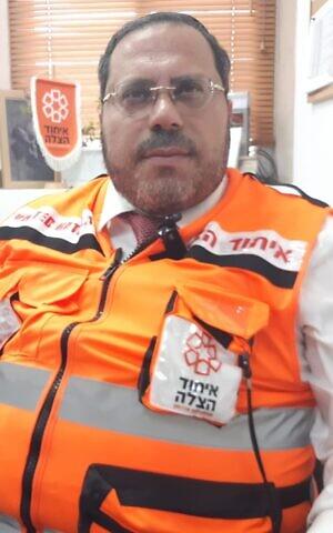 United Hatzalah medic Uriel Belams (Nathan Jeffay/The Times of Israel)