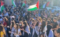 Thousands of demonstrators observe Nakba Day in Sakhnin, northern Israel, on Saturday, May 15, 2021 (Credit: Ali Siryouji/Joint List)