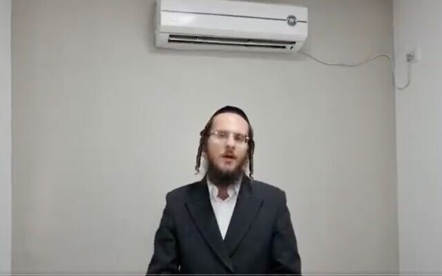 Screen capture from video of Yoel Schlezinger describing the events at Mount Meron, May 2, 2021. (Twitter)