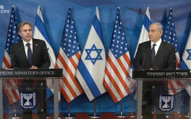 US Secretary of State Antony Blinken speaks alongside Prime Minister Benjamin Netanyahu at the Prime Minister's Office in Jerusalem on May 25, 2021 (Screen capture)