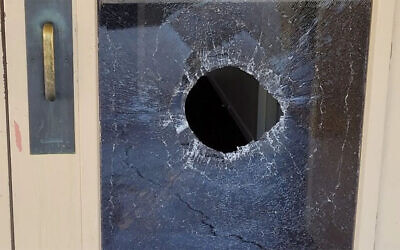 The aftermath of an allegedly antisemitic attack at the Chaverim Congregation in Tucson, Arizona on May 18, 2021. (Chaverim Congregation via JTA)