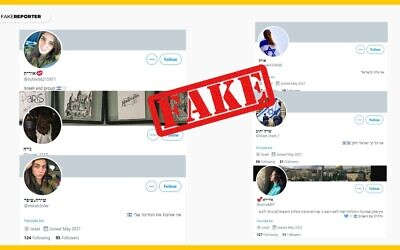 Suspected fake media accounts by foreign actors impersonating Israelis that were called out by Israel's Fake Reporter organization (Courtesy)