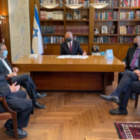 Clockwise from top: Prime Minister Benjamin Netanyahu of Likud, Knesset Speaker Yariv Levin of Likud, Interior Minister Aryeh Deri oh Shas, Housing Minister Yaakov Litzman of United Torah Judaism and UTJ MK Moshe Gafni meet on May 6, 2021. (Likud)