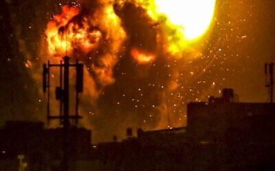 An Israeli airstrike on a terror target in the Gaza Strip, May 16, 2021. (Abed Rahim Khatib/Flash 90 via JTA)