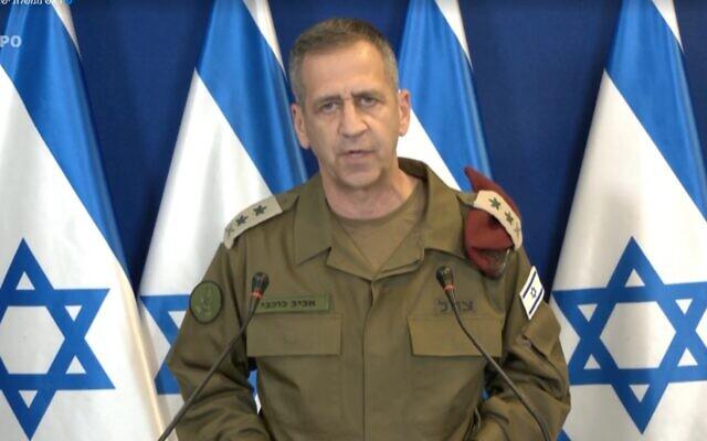 IDF Chief of staff Aviv Kohavi at a May 16, 2021 press conference (Screenshot)