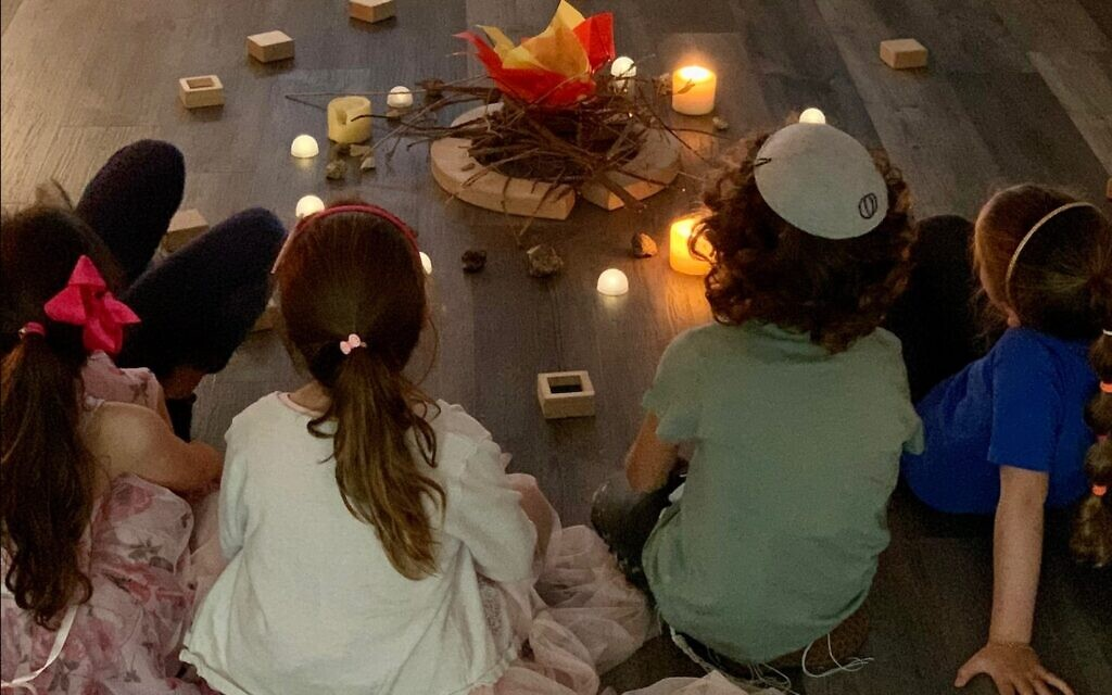 Students at Scheck Hillel Community School in south Florida celebrated Lag B'Omer while commemorating the tragedy in Meron, Israel (Greg Feldman via JTA)