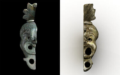 A bronze oil lamp discovered in Budapest in 2012 (R) which matched one found in Jerusalem's City of David in May 2021 (L). (Ágnes Bakos/Bence Tihanyi; Koby Harati/City of David)
