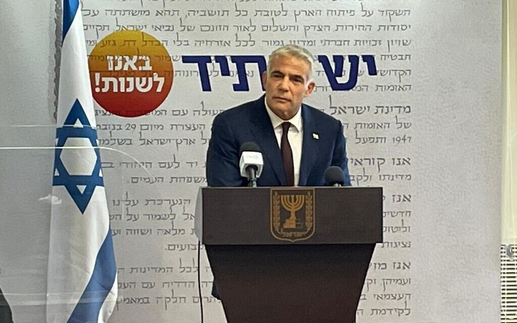 Yesh Atid leader Yair Lapid speaks during a news conference in Tel Aviv, May 6, 2021 (Courtesy)
