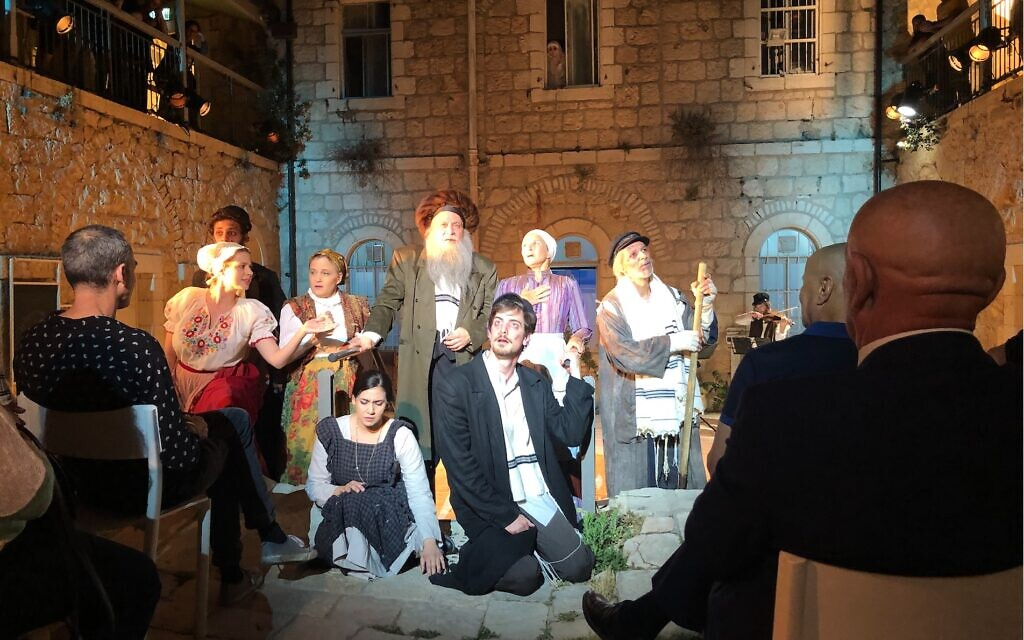 The cast of 'A Wedding in Time of Plague' at Hansen House in Jerusalem; the play will be performed throughout the summer (Jessica Steinberg/Times of Israel)