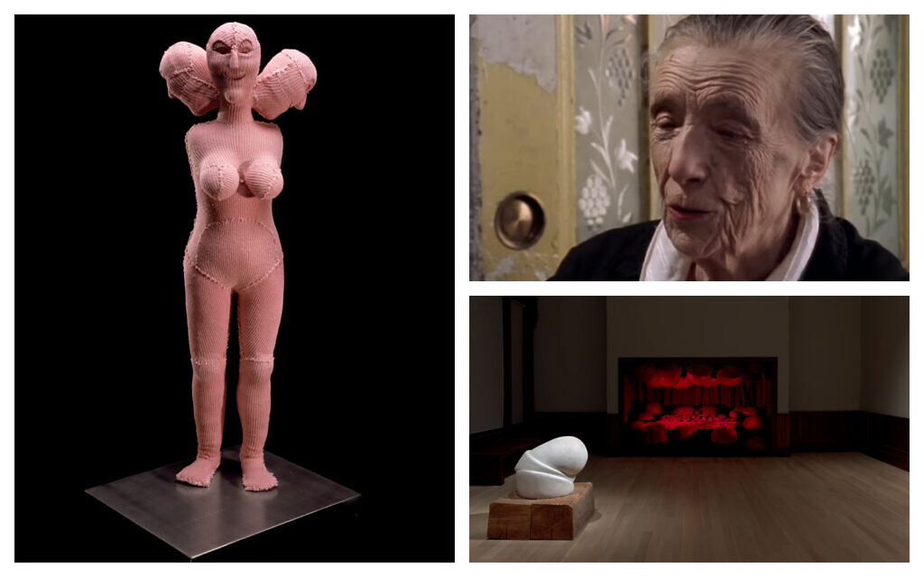 Clockwise, from left: 'Hysterical.' (The Easton Foundation/ Licensed by VAGA at Artists Rights Society, New York; Photo: Christopher Burke); Artist Lousie Bourgeois (YouTube); Installation view of 'Louise Bourgeois: Freud's Daughter,' at The Jewish Museum in New York. (Photo by Ron Amstutz. © The Easton Foundation/ Licensed by VAGA at Artists Rights Society, New York)