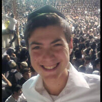 A photo of Nachman Doniel Morris, a student who died in the stampede at Mount Meron in Israel on Lag b'Omer, was shared on social media. (Twitter via JTA)