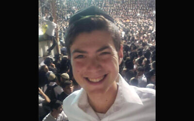 A photo of Nachman Doniel Morris, a student who died in the fatal crushing at Mount Meron in Israel on Lag B'Omer, was shared on social media. (Twitter via JTA)
