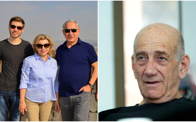 Prime Minister Benjamin Netanyahu, his wife Sara and their son Yair (L); former prime minister Ehud Olmert (R).(FLash90)