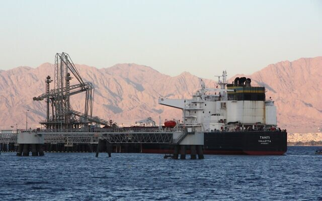 An oil tanker docks at the Europe Asia Pipeline Company port in Eilat in southern Israel, on May 4, 2021. (Shmulik Taggar)