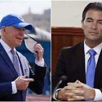 US President Joe Biden, left, and Mossad chief Yossi Cohen. (Collage/AP)