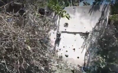Damage after a rocket fired from the Gaza Strip landed in the Ramat Gan Safari, May 15, 2021 (Screen grab/Ynet)