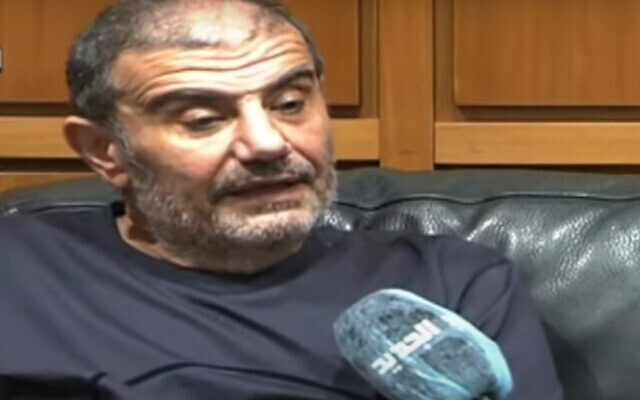 Samir Sfeir in an interview with al-Jadeed TV on May 28, 2021. (screen capture: YouTube)