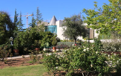 A view of the Supreme Court building from the Wohl Rose Park in Jerusalem, April 2021. (Shmuel Bar-Am)