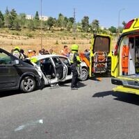 The scene of a deadly car crash on Route 1, May 6, 2021. (Magen David Adom)