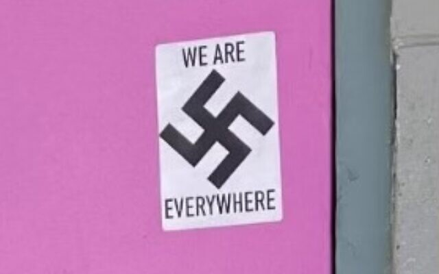 A sticker with a swastika is seen in Anchorage, Alaska, on May 25, 2021. (Anchorage Police Department)